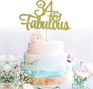 GrantParty Glitter Gold 34&Fabulous Anniversary Cake Topper We Still Do 34th Vow Renewal Wedding Anniversary Cake Topper(34 Gold)