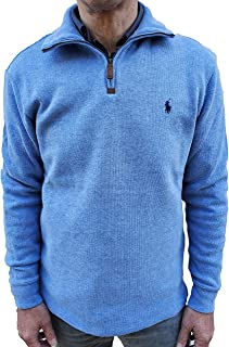 Men's Half Zip French Rib Pony Logo Cotton Pullover Sweater