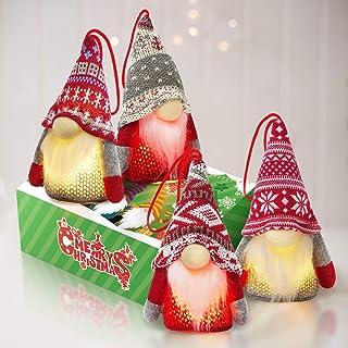 Best Kmuysl Lighted Tomte Gnomes Christmas Ornaments,Handmade Swedish Santa Gnomes Plush Santa Elf Lights Table Home Decor Ornaments Pack of 4,Christmas Tree Hanging Decoration Review