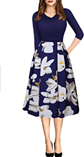 ECOLIVZIT Women Vintage Casual Swing 3/4 Sleeve Patchwork Floral Midi Dress Pockets Work