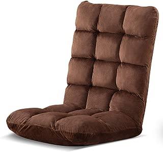 座椅子【腰痛対策】リクライニング 低反発ウレタン【ヘタリにくい】耐荷重120kg ふわふわマイクロファイバー生地 ハイバック 折りたたみ収納 こたつ座椅子 幅49奥行50高さ62厚み12cm ブラウン CZ8812-D16