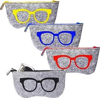 4pcs Fundas de Gafas Portátiles Bolsa para Gafas Estuche de Gafas de Sol Estuche de Gafas de Fielto, 4 Color de Dibujo, Funda para Gafas con Cinturon Bolsa de Almacenamiento
