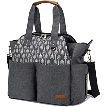 Lekebaby Diaper Bag Tote Purse Satchel Diaper Messenger for Mom and Girls Grey, Arrow Print
