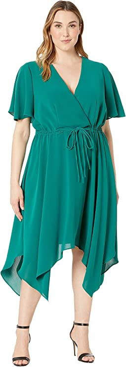 Plus Size Gauzy Crepe Tie Waist Dress