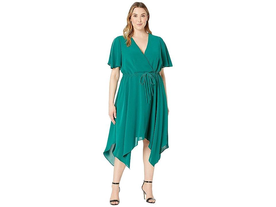 Adrianna Papell Plus Size Gauzy Crepe Tie Waist Dress (Bright Palm) Women