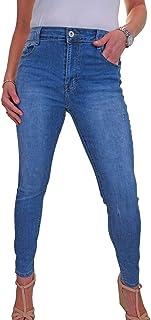 icecoolfashion Jeans in Denim Elasticizzato con Gamba Sottile E Dettaglio Graffiato da Donna 42-52