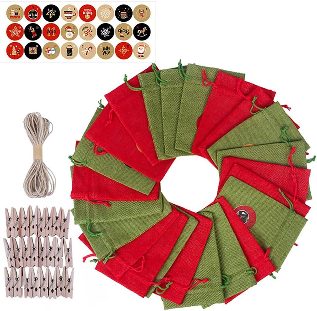 Lnrueg Christmas Advent trend rank Bags DIY Candy Adve Drawstring Xmas unisex