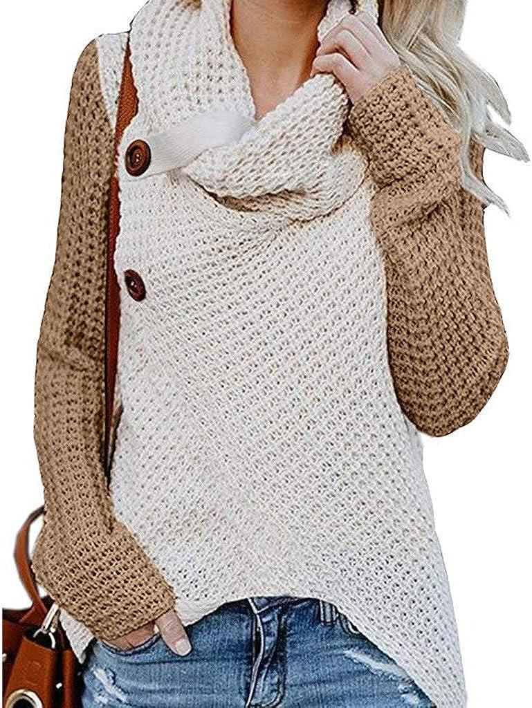 FABIURT Sweaters for Women, Womens Casual Color Block Button Turtle Cowl Neck Asymmetric Hem Wrap Pullover Sweater Tops
