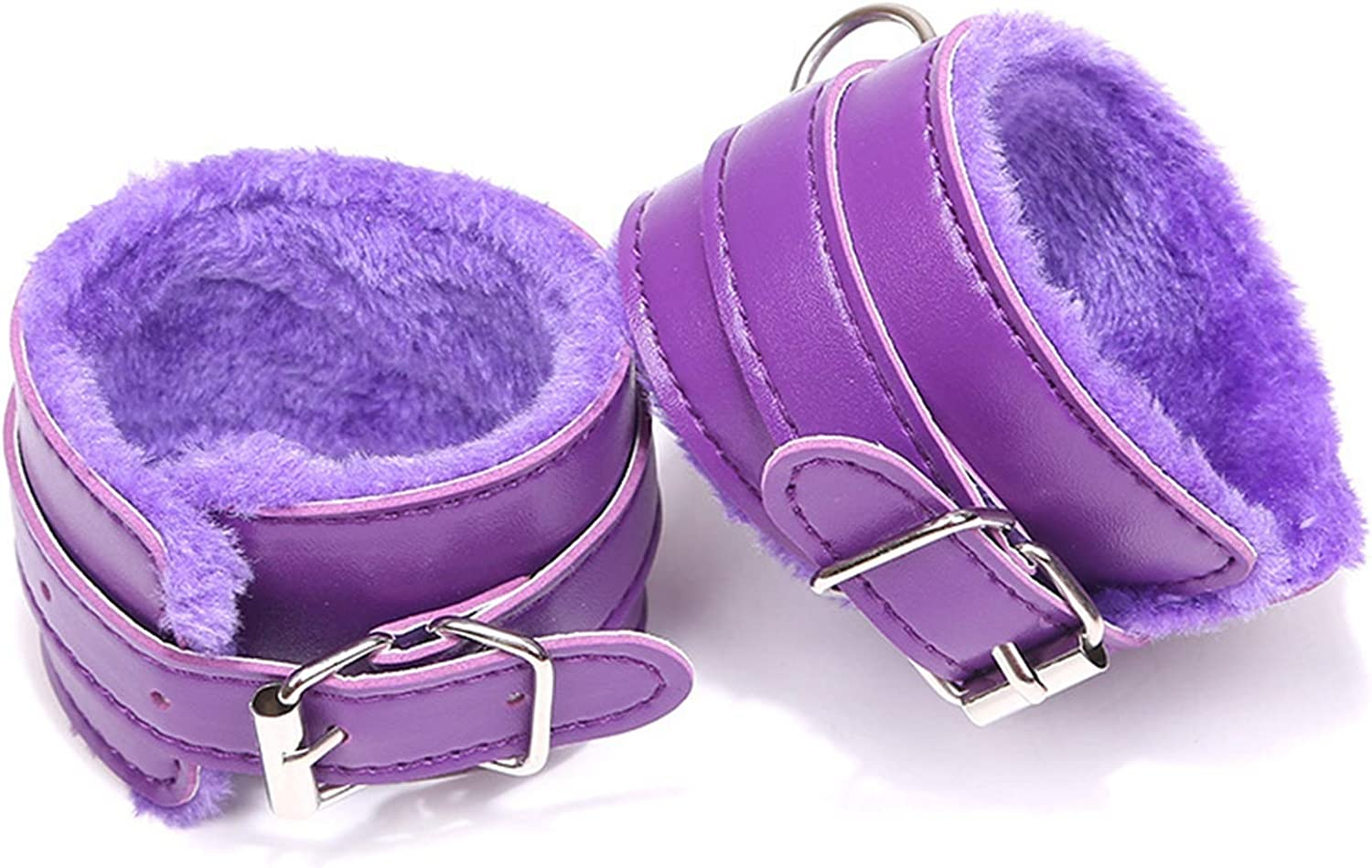 2021 New Fluffy Wrist Leather Handcuffs Bracelet Soft Plush Lining Wrist Handcuffs Bracelet Leg Cuffs Role Play Exercise Bands Leash Detachable for Home Yoga Gyms Party Cosplay Jewelry Gift