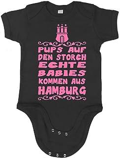 Artdiktat Baby Mädchen Organic Bodysuit - Strampler - Pups auf den Storch - Echte Babies kommen aus Hamburg