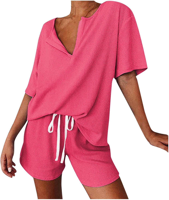 Oxodoi Women's Elastic Waist Pajama Set Summer Short Sleeve V-Neck Tops and Shorts Loungewear Tracksuits Nightwear Sleepwear