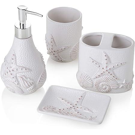 portaspazzolino bianco opaco pompa dispenser per sapone accessori per il bagno bicchiere include portasapone Set di 4 accessori da bagno in ceramica quattro pezzi
