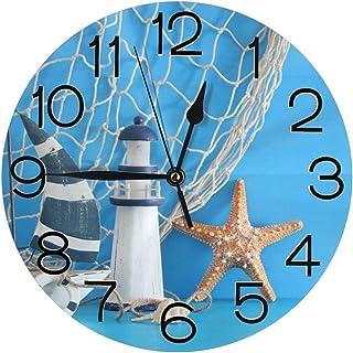Stylish 3D Nautical Sailboat Lighthouse Starfish Seashells Fishnet Over Blue Wooden Round Wall Clock Battery Operated Quar...