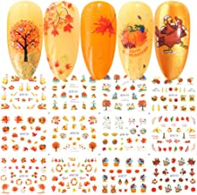 BFY Fall Nail Stickers Halloween Thanksgiving Nail Art Accessories Decals 12 Sheets Maple Leaf Pumpkin Turkey Water Transfer Nail Art Stickers for Women Girls Kids DIY Thanksgiving Day Decorations