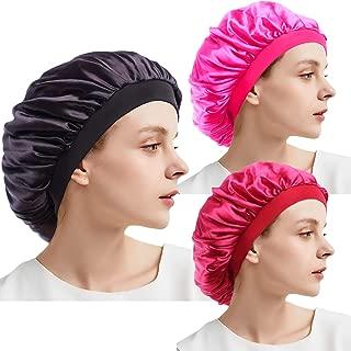 Women Soft Satin Silky Bonnet Cap Elastic Wide Band Night Sleep Hat Extra Large Cap