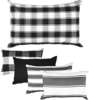 JES&MEDIS Pack of 5 Classic Retro Plaid and Stripe Soft Soild Decorative Square Throw Pillow Covers Set (Black and White, 12 x 20 inches)