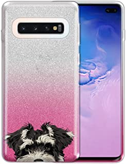 FINCIBO Case Compatible with Samsung Galaxy S10+ / S10 Plus, Shiny Sparkling Silver Pink Gradient 2 Tone Glitter TPU Protector Cover Case for Galaxy S10 Plus (NOT FIT S10, S10E) - Schnauzer Puppy Dog