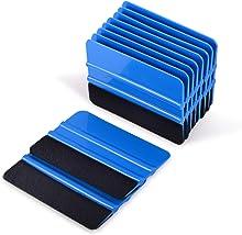 EHDIS 10pcs Vinyl Squeegee Felt Edge Squeegee 4 Inch Car Vinyl Scraper Decal Applicator Window Tint Tool with Black Fabric Felt Edge-Blue