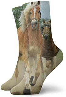 tyui7, Hermosos calcetines de compresión antideslizantes para caballos acogedores calcetines deportivos de 30 cm para hombres, mujeres y niños