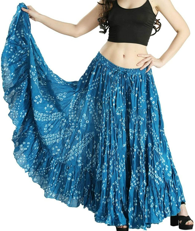 Polka Dot 25 Yard Yards Tribal Gypsy Cotton Belly Dancing Dance Skirt (TURQ blueE)