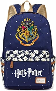 JUSTRHICE Korean Casual Canvas Backpack Laptop Bookbag School Bag Daypack for Harry Potter Cosplay (Dark Blue 2)