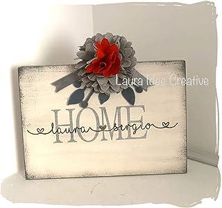 Targa in legno HOME – LOVE con nomi – Idea regalo personalizzabile – Festa della mamma – Compleanno – San Valentino