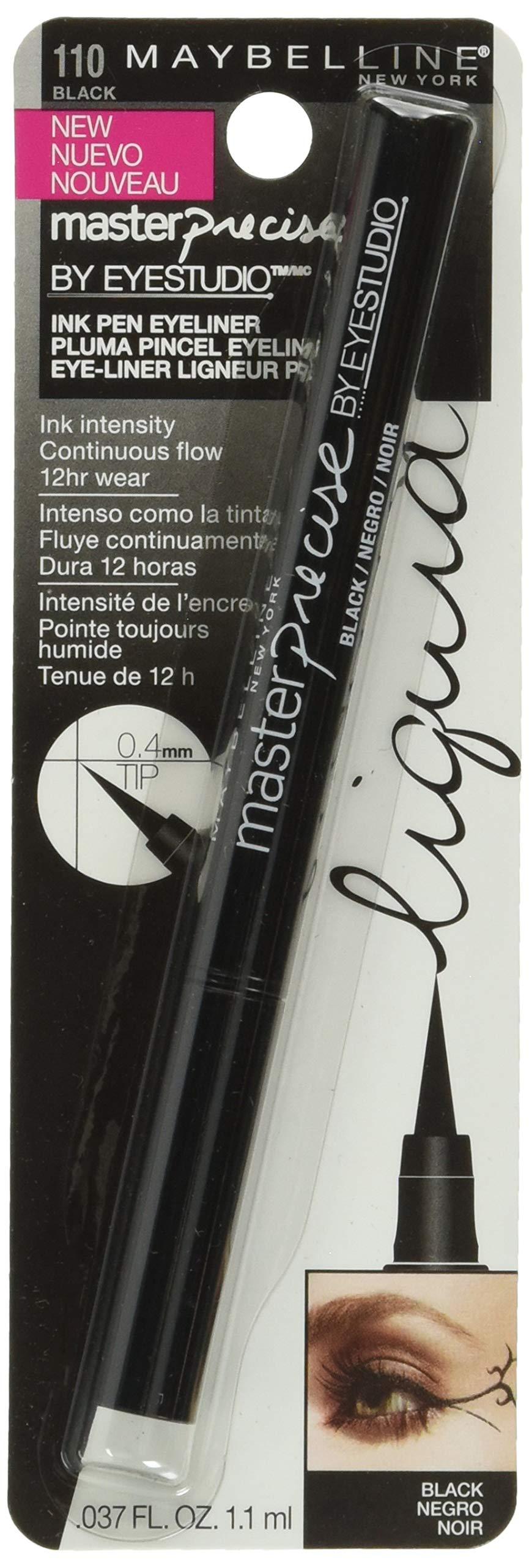 Maybelline Eyestudio Master Precise All Day Liquid Eyeliner Makeup, Black, 0.034 fl. oz.