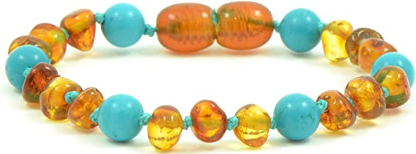 Baltic Amber Teething Bracelet / Anklet {0056} Mixed with Turquoise Beads - 5.5 inches - Amber Jewelry - Hand-Made from Natural Baltic Amber Beads (5.5 inches (14 cm), Cognac / Turquoise (Green))