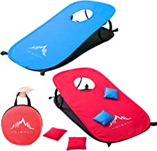 Himal Collapsible Portable Cornhole Game Boards 10 Cornhole Bean Bags Cornhole Set Tic Tac Toe Game 2 Games on 1 Board (2 x 1-feet)-1