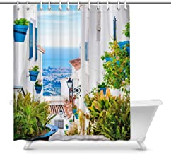 European View of Spain Street with Flower Pots Waterproof Shower Curtain Decor Fabric Bathroom Set with Hooks, 72(Wide) x ...
