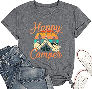 Happy Camper Shirt Sunrise Camping Graphic Tee Shirts for Women Letter Print Cute Funny Casual Glamping Tshirt Top