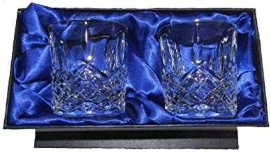 Hand Cut Crystal Whisky Glasses x 2 with Presentation Box