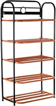 CreativeBuzz Multipurpose Iron Rack with 5 Shelves for Toys and Shoes (Orange)