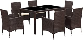 Wisteria Lane 7 Piece Patio Wicker Dining Set, Outdoor Rattan Dining Furniture Glass Table Cushioned Chair,Brown