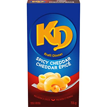 Kraft Dinner Spicy Cheddar Macaroni & Cheese, 156g (Pack of 12), Imported from Canada}