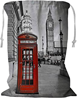 PKQWTM London Big Ben Telephone Booth Storage Basket Laundry Bag with Drawstring Size 24x32 Inch