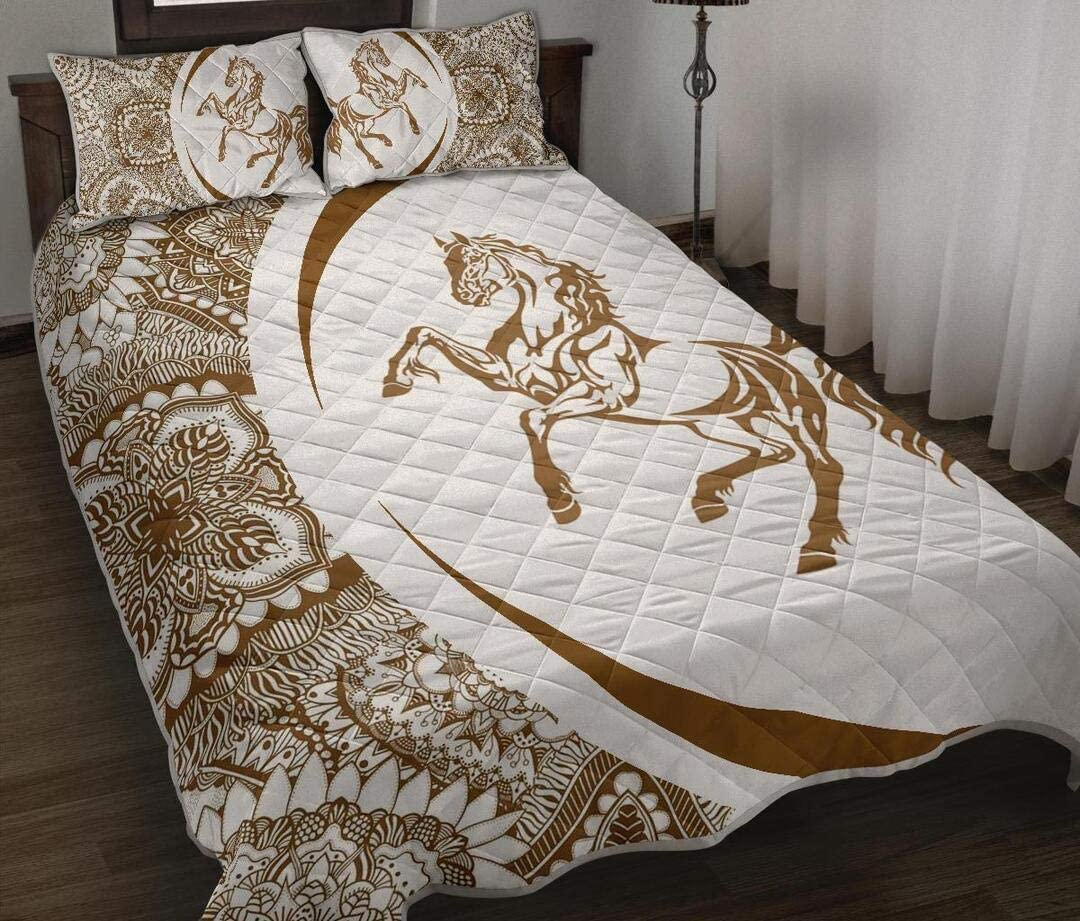 Personalized Popular brand Max 54% OFF Horse Quilt Halloween Decorative Lightw Bedspread -
