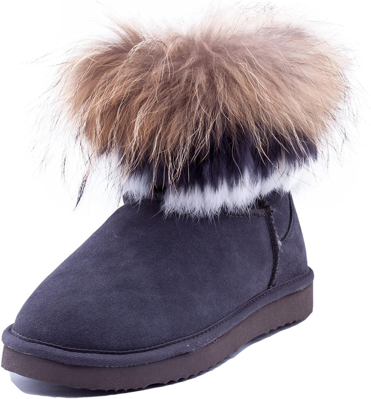 Ausland Women's Cowhide Short Snow Boots with Fox&Rabbit Fur Trim 9258