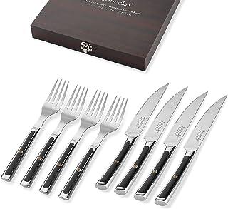 Sunnecko Steakbesteck Set, Damast Besteckset für 4 Personen, Steakmesser mit..