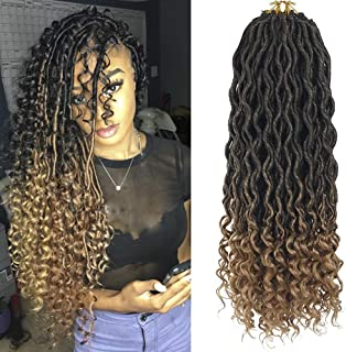 DEYNGS 18''Goddess Faux Locs Crochet Hair Braids Wavy with Curly Ends Synthetic Hair Extensions Fauxlocs Fiber Braiding Hair Afro Kinky Soft Dread Dreadlocks (6Packs/Lot, 1B/27)