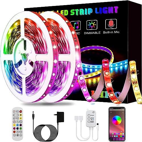 Led Strip Lights, KIKO 32.8ft Led Lights Smart Color Changing Rope Lights SMD 5050 RGB Light Strips with Bluetooth Co...