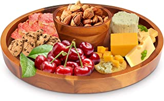 Wood Cheese Board, AIDEA Acacia Wood Cheese Board Cake Stand for Party, Charcuterie Platter & Serving Tray for Charcuterie, Crackers, Brie and Meat - Best Christmas Gift