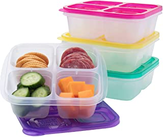 EasyLunchboxes - Bento Snack Boxes - Reusable 4-Compartment Food Containers for School, Work and Travel, Set of 4, Brights