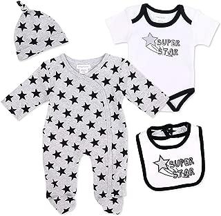 Babystrampler ohne F/ü/ße f/ür Neugeborene /& Kleinkinder Gr/ö/ße: 0-3 Monate Motiv: Stars 62 Baby Sweets Set Strampler Halstuch Unisex grau