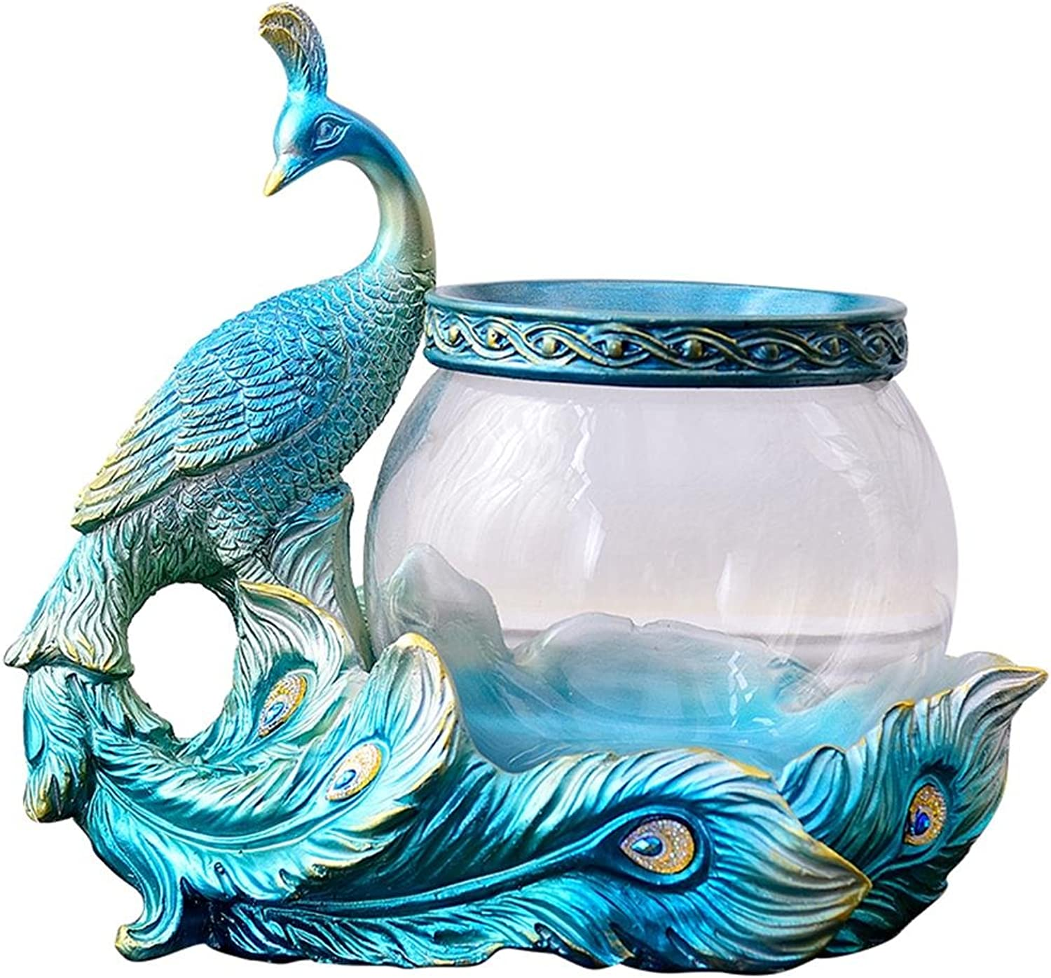 Fish Tank Uncle Sam LI  Resin Aquarium, Fish Bowls of peacock model base For Living Room Bedroom Entrance Ornament (color   Style 1)