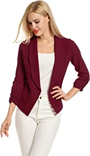487237bf7e9 POGTMM Women 3 4 Sleeve Blazer Open Front Cardigan Jacket Work Office Blazer