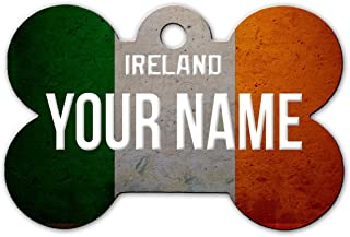 BleuReign(TM Personalized Custom Name Country License Plate Bone Shaped Metal Pet ID Tag with Contact Information
