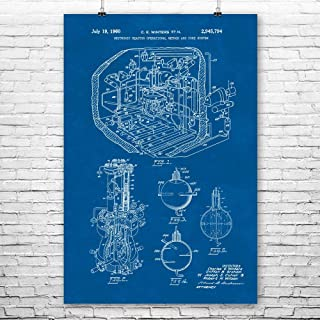 Nuclear Reactor Poster Print, Engineer Gifts, Power Plant Worker, Energy Engineering, Science Teacher, Physicist Gift Blueprint (8