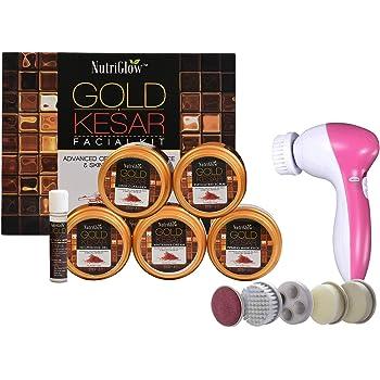 NUTRIGLOW Gold Kesar Facial Kit And Portable Face Massager