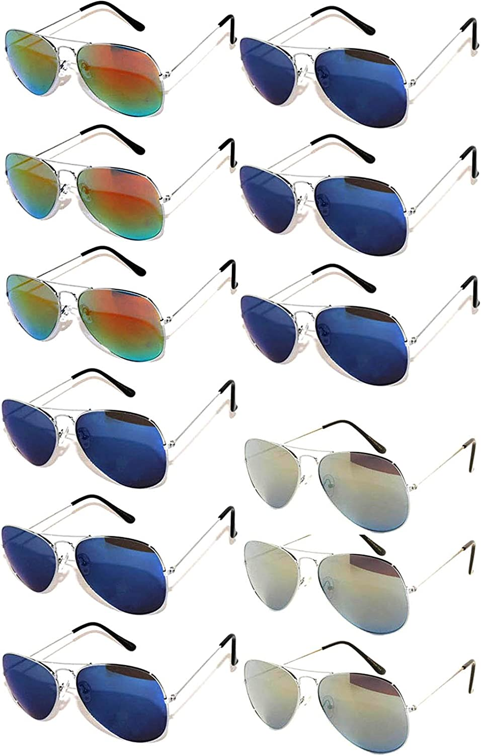 12 Pack Aviator Eyeglasses Metal gold, Silver, Black Frame colord Mirror Lens OWL.